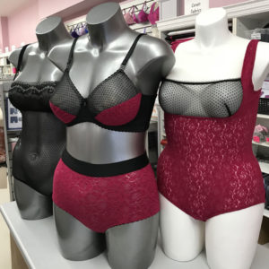 Bras made with rose floral fabric and polka dot lace